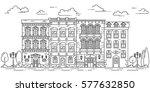 city skyline in line art style  ... | Shutterstock .eps vector #577632850