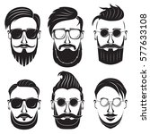 hipster face on a white... | Shutterstock .eps vector #577633108