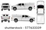 white pickup truck template... | Shutterstock . vector #577633339