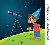 boy looking through a telescope ... | Shutterstock .eps vector #577641430