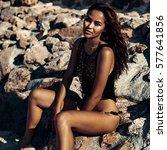 outdoor fashion portrait of... | Shutterstock . vector #577641856