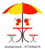 Vector Table With Umbrella And...