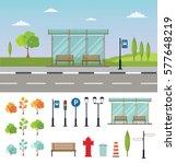 bus stop cityscape flat vector... | Shutterstock .eps vector #577648219
