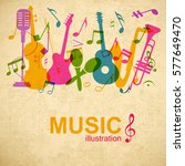musical graphic poster with... | Shutterstock .eps vector #577649470