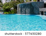 man made waterfall at the... | Shutterstock . vector #577650280