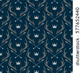 seamless pattern with deer... | Shutterstock .eps vector #577652440