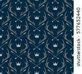 seamless pattern with deer... | Shutterstock .eps vector #577652440
