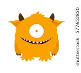 fluffy cute monster with horns. ... | Shutterstock .eps vector #577652830
