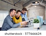 group of stylish business... | Shutterstock . vector #577666624
