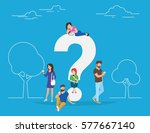 young men and women standing... | Shutterstock .eps vector #577667140