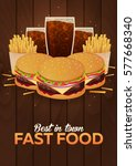 lunch with french fries  burger ... | Shutterstock .eps vector #577668340