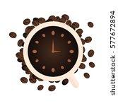 coffee watch. vector flat... | Shutterstock .eps vector #577672894