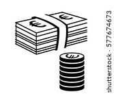 money icon. stack of coins and... | Shutterstock .eps vector #577674673