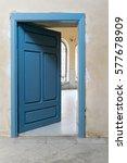 Blue Wooden Vintage Door With...