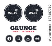 grunge post stamps. free wifi...