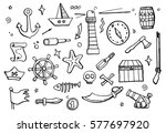 hand drawn set of pirate and... | Shutterstock .eps vector #577697920