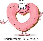 cute sweet donut heart shaped   ... | Shutterstock .eps vector #577698514