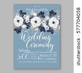 anemone wedding invitation card ... | Shutterstock .eps vector #577704058
