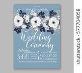 anemone wedding invitation card ... | Shutterstock .eps vector #577704058