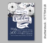 anemone wedding invitation card ... | Shutterstock .eps vector #577704118