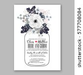 anemone wedding invitation card ... | Shutterstock .eps vector #577708084