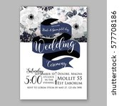 anemone wedding invitation card ... | Shutterstock .eps vector #577708186