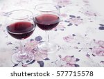 Ruby Wine. Two Glasses. Flower...