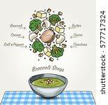 vector broccoli soup on table | Shutterstock .eps vector #577717324