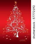 christmas tree on the red... | Shutterstock .eps vector #57772192