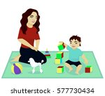 mother play with baby | Shutterstock .eps vector #577730434