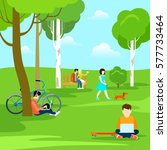 flat young people in park  male ... | Shutterstock .eps vector #577733464