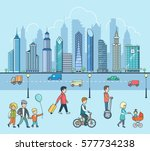linear flat families walking... | Shutterstock .eps vector #577734238