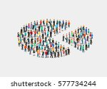 flat isometric crowd of people... | Shutterstock .eps vector #577734244