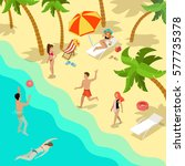 flat young people on tropical... | Shutterstock .eps vector #577735378