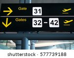 gate directional sign at airport | Shutterstock . vector #577739188