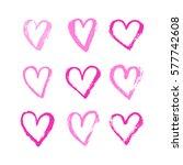 vector ink pink hearts symbol... | Shutterstock .eps vector #577742608