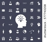 head icon with bulb. education... | Shutterstock .eps vector #577743208