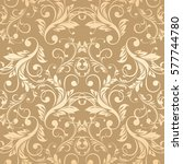 luxury golden wallpaper.... | Shutterstock .eps vector #577744780
