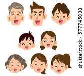 three generations family smile... | Shutterstock .eps vector #577745038