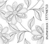 monochrome seamless floral... | Shutterstock . vector #577748713