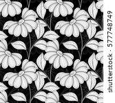 monochrome seamless floral... | Shutterstock . vector #577748749