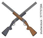 two crossed shotguns  vector...
