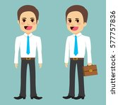 young businessman with suitcase ... | Shutterstock .eps vector #577757836