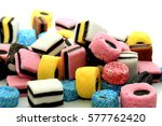 stacked liquorice all sorts in... | Shutterstock . vector #577762420