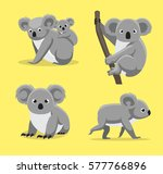 Cute Koala Poses Cartoon Vecto...