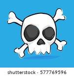 skull icon doodle   Shutterstock .eps vector #577769596