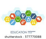 education network. hexagon... | Shutterstock .eps vector #577770088