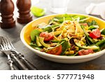 mexican salad with bacon  corn  ...