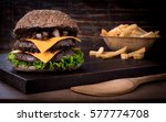 traditional beef burger with... | Shutterstock . vector #577774708