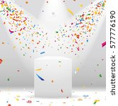 white podium with spotlight and ... | Shutterstock .eps vector #577776190